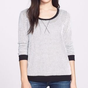 PLEIONE Textured Pullover White Black Thermal Top